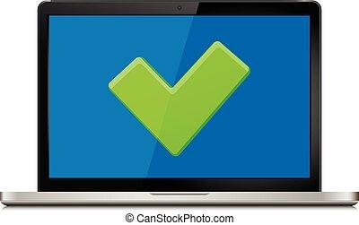 Check mark on laptop screen