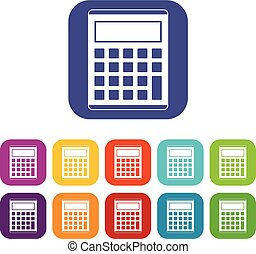 Office, school electronic calculator icons set vector...