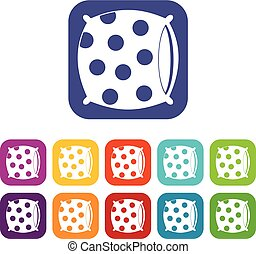 Pillow with dots icons set flat - Pillow with dots icons set...