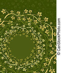 Floral Vine Circles - Shades of yellow and green ornate...