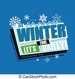Winter abstract vintage retro banner sign