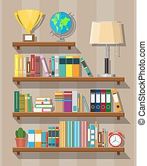Library book shelf. Bookcase with different books.