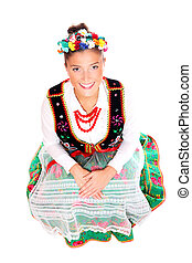 Beautiful Polish girl in traditional clothes