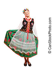 Traditional Polish outfit - A portrait of a Polish woman in...