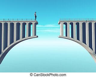 Man in front of a broken bridge. This is a 3d render...