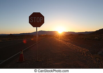 Stop sign, beautiful sunset, arizona canyon, beautiful...