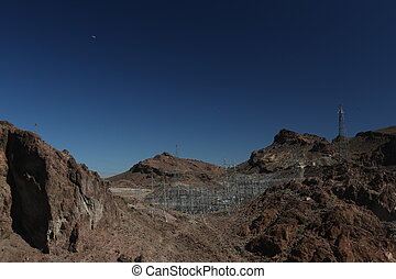 Mountains beyond Hoover dam - High mountains, hoover dam,...