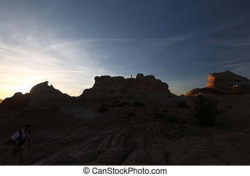 Man at the top of rock - Arizona canyon, human and nature,...