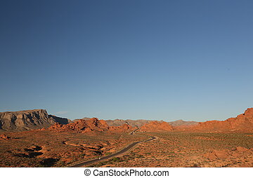 Road through mountain range - Long road, arizona canyon,...