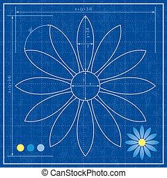 Blueprint of a flower