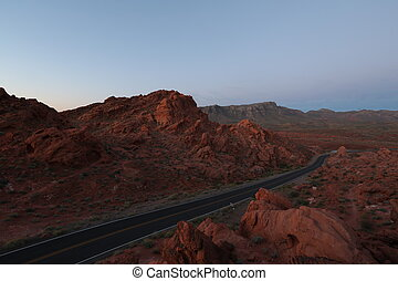 Road through canyons, beautiful landscape, blue sky,...