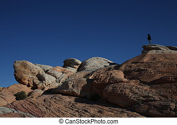 Human on the rock - Arizona canyon, human and nature, canyon...