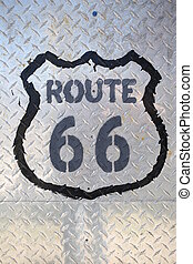 Route 66 sign on white background. Close up - Graffity sign,...