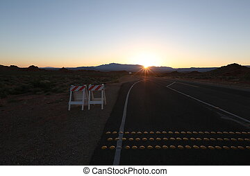 Sunset on road, arizona canyon, beautiful landscape, blue...