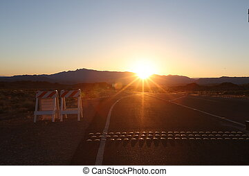Sunset beyond mountains, sunset on road, arizona canyon,...