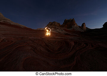 Photographer in lights canyon - Arizona canyon, human and...