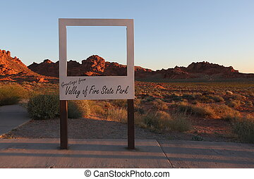 Greeting sign in Arizona - Greeting sign, beautiful sunset,...