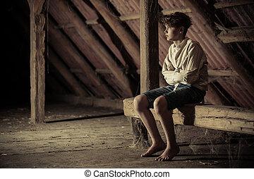Barefoot teenage boy in a straight jacket - Barefoot teenage...