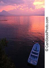 Pink Sunset at Lago Atitlan in Guatemala - Lake Atitlan in...
