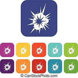 Nucleate explosion icons set flat - Nucleate explosion icons...