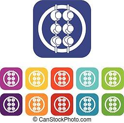 Asian shashlik icons set flat - Asian shashlik icons set...