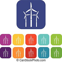 Windmill icons set flat - Windmill icons set vector...