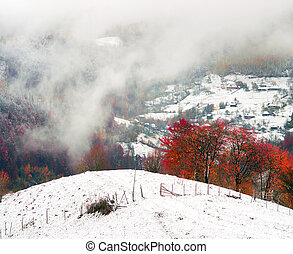 First snow fall in the Carpathian village