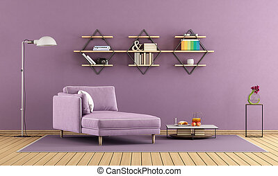 Purple living room with chaise lounge and shelves