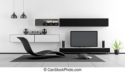 Black and white room with tv unit and chaise lounge