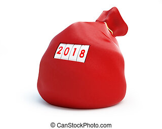 Santa bag, 2018 new year on a white background 3D...