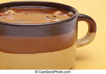 Minestrone Soup in a Large Mug Ready to Eat