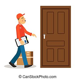 Young delivery man delivery parcel to the door, courier in uniform at work cartoon character vector Illustration
