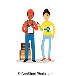 Delivery man handing over a parcel to customer cartoon characters vector Illustration