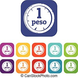 Peso icons set flat - Peso icons set vector illustration in...
