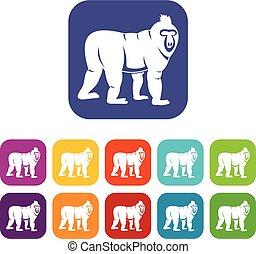 Mandrill monkey icons set flat - Mandrill monkey icons set...
