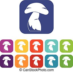 Good mushroom icons set flat - Good mushroom icons set...