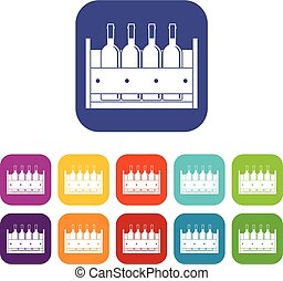 Four bottles of wine in a wooden box icons set vector...