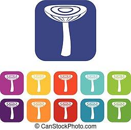 Mushroom russet icons set flat - Mushroom russet icons set...