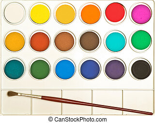 Watercolours - Watercolors with brush complete set