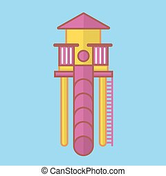 Children slide for playground with long pink tube, yellow...