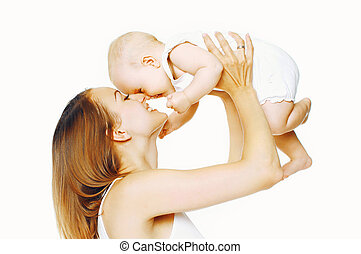 Cheerful mother playing with baby having fun on a white background