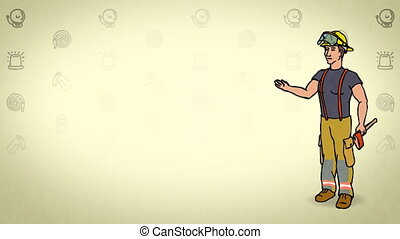 Animated Character Fire fighter or Rescuer stands in full growth and says, curve contour, yellow background