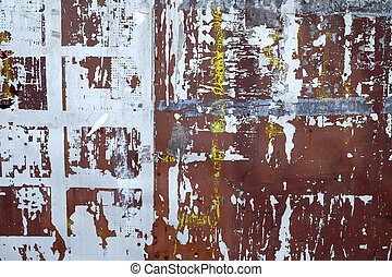 Rusted painted metal plates - grungy industrial construction background