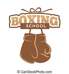 Boxing sport school isolated emblem with gloves illustration...