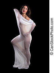 Mesh net fabric on stunning model - Beautiful artist model...