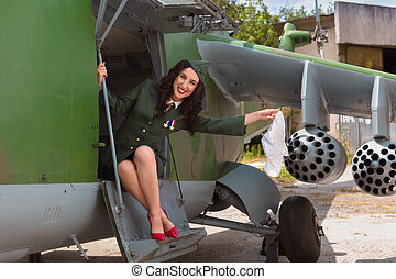 Old-timer aircraft and sexy girl - Sexy pin-up model in WW2...