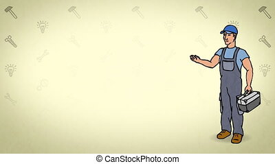 Animated Character Worker or Technician stands in full growth and says, curve contour, yellow background