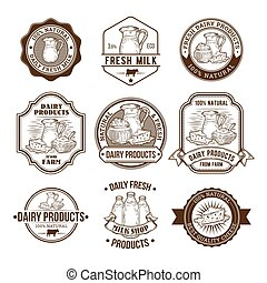 Set of vector illustrations, badges, stickers, labels,...