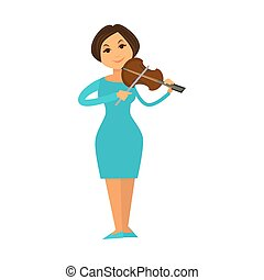 Orchestra jazz band woman playing violin fiddle music...