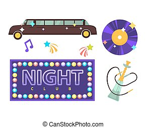 Night club or disco party vector flat icons for lounge bar....